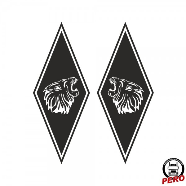 Aufkleber-Set Rauten mit Löwenkopf 35x14cm rechts/links