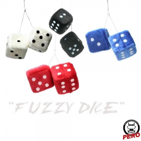 Fuzzy Dice, Würfelset aus Plüsch verschiedene Farben 7x7cm