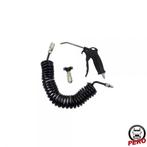 Luftpistole, Ausblaspistole mit Spiralschlauch und T-Stück