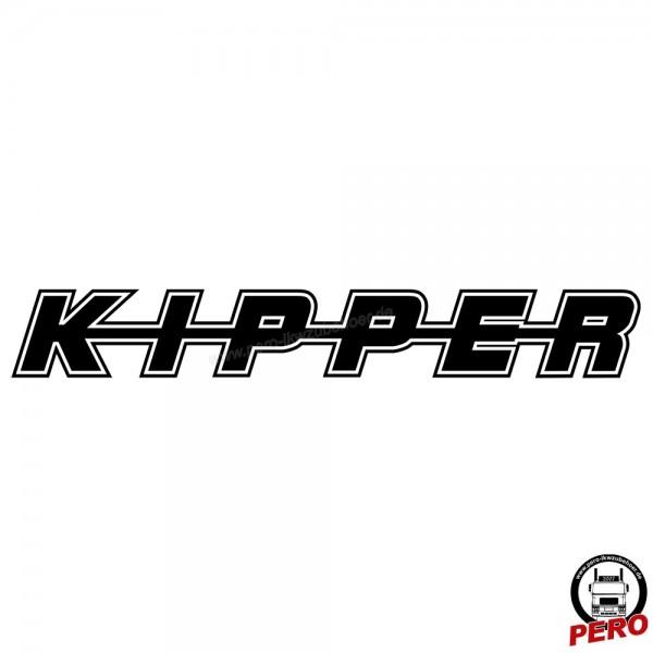 Aufkleber KIPPER als Schriftzug, mit Kontur 56cm