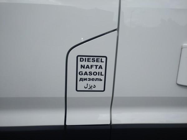 Aufkleber Diesel, Nafta, Gasoil, Tank-Hinweisschild in 5 Sprachen 10x12,5cm