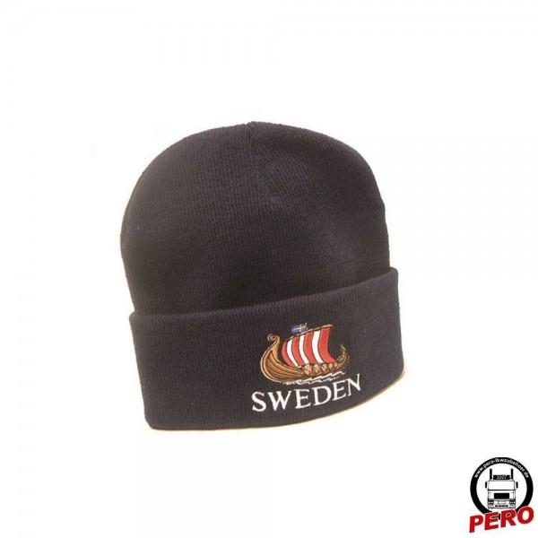 Strickmütze, Wintermütze schwarz SWEDEN gestickt
