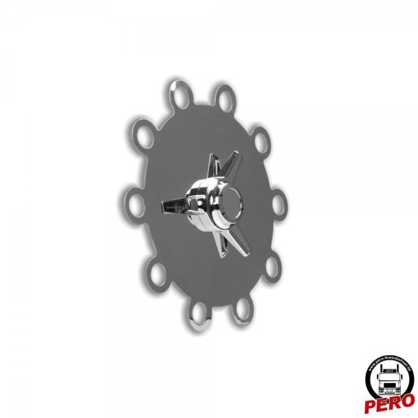 Radnabenabdeckung aus Edelstahl mit Spinner passend für 22,5 Zoll Alufelge