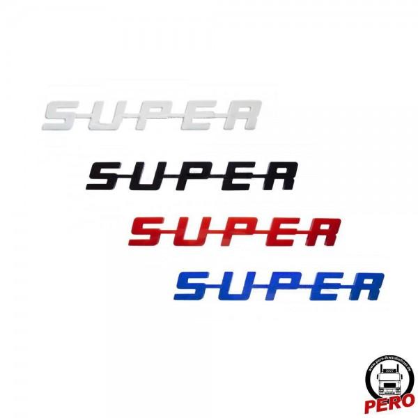 SUPER Logo, Emblem aus Kunststoff