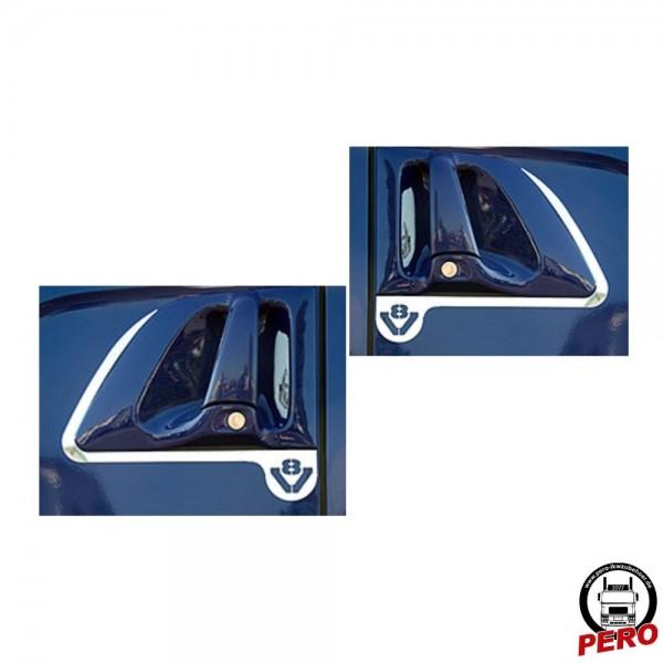 Türgriff-Applikation aus Edelstahl mit V8-Logo passend für Scania R