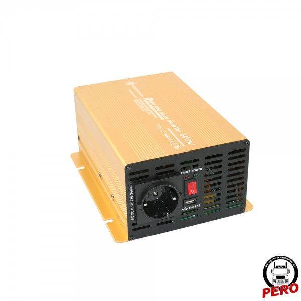Spannungswandler, Wechselrichter 24V / 230V - 600 Watt reiner Sinus, mit USB