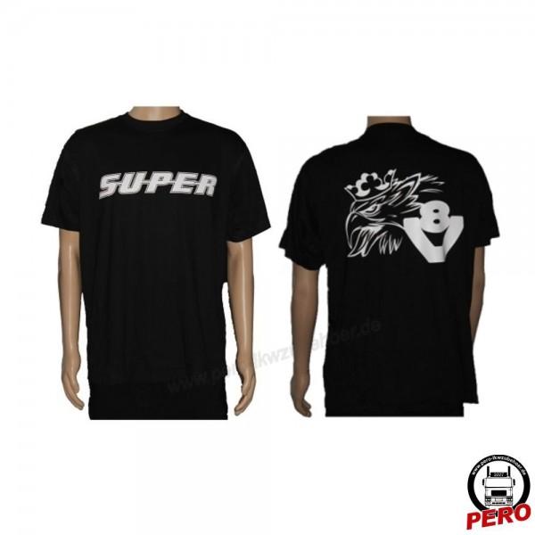 T-Shirt schwarz SUPER / Svempa-V8 beidseitig bedruckt