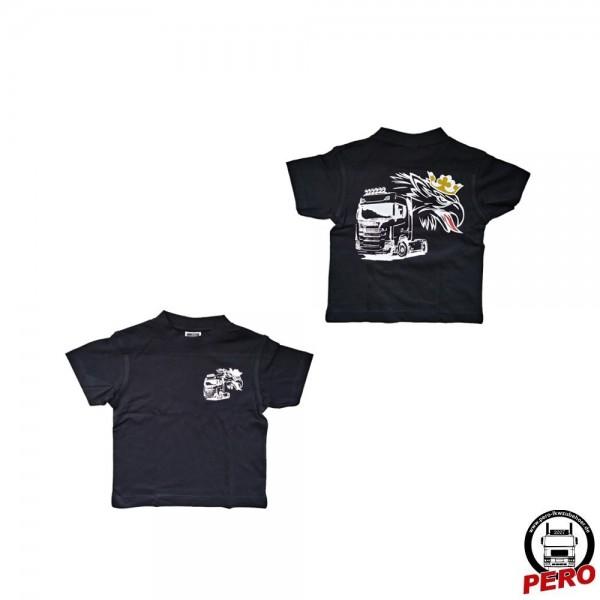 T-Shirt schwarz Svempa mit Truck, beidseitig bedruckt