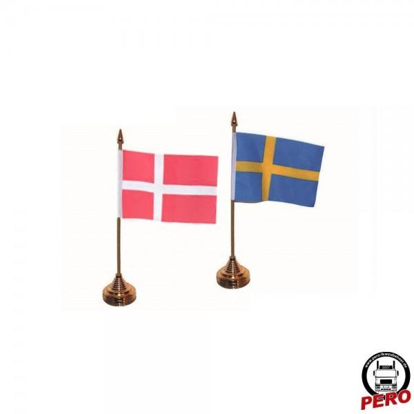 Tischflagge, Tischfahne Dänemark / Schweden, 31cm