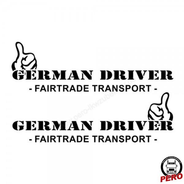 Aufkleber-Set German Driver -Fairtrade Transport- 56cm, silber