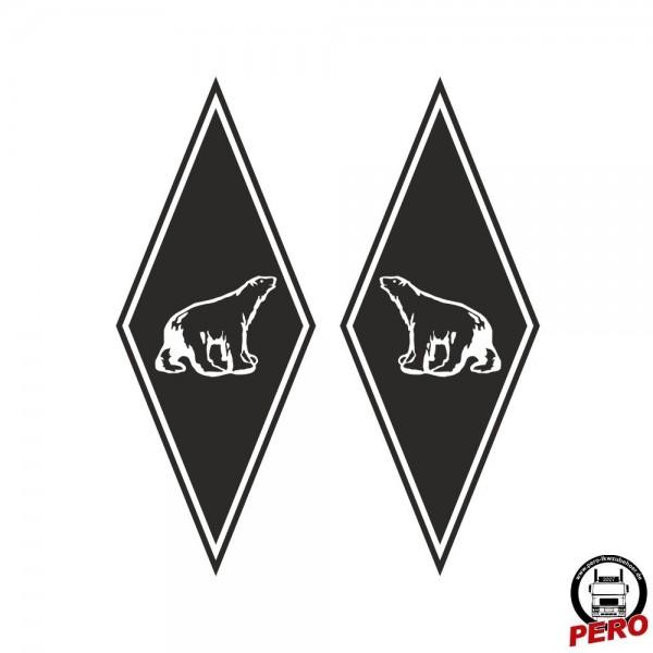 Aufkleber-Set Rauten mit Polar Bär, Eisbär 35x14cm rechts/links
