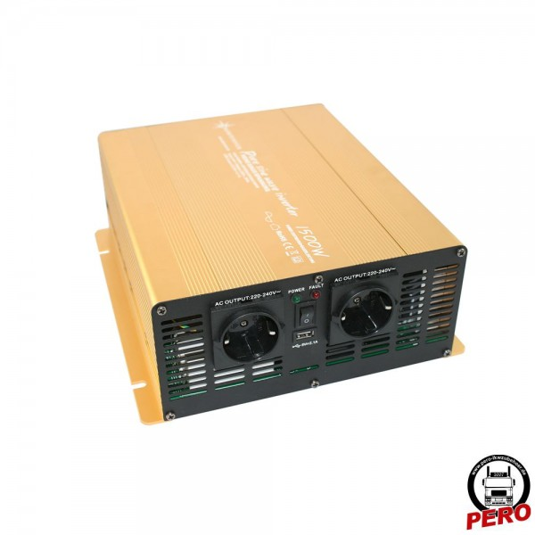 Spannungswandler, Wechselrichter 24V / 230V - 1500 Watt reiner Sinus, mit USB