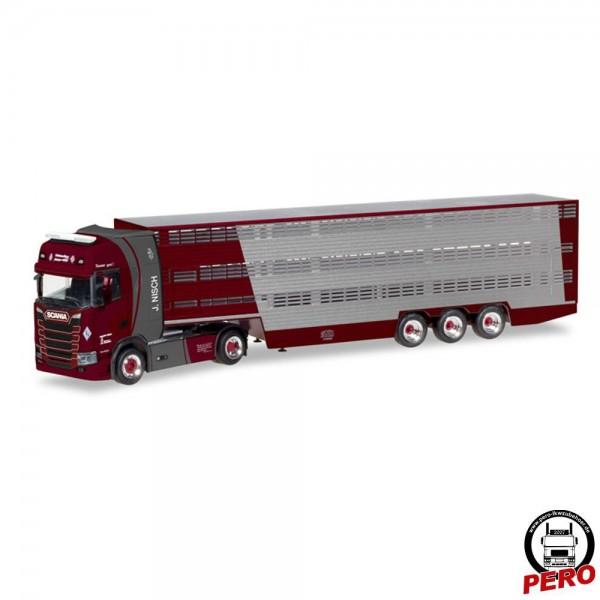 Herpa Scania CS20 HD Viehtransporter-Sattelzug J. Nisch (D)