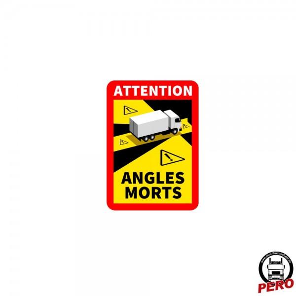 Aufkleber ANGLES MORTS *Toter Winkel* Warnaufkleber, Warnschild Frankreich
