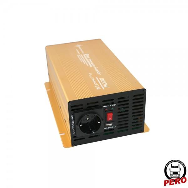 Spannungswandler, Wechselrichter 24V / 230V - 1000 Watt reiner Sinus, mit USB