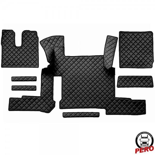 Kunstleder Fußmatten, Komplettset -Economy Line- passend für MAN TGX '18 mit 2-Schubladen *Automatik*