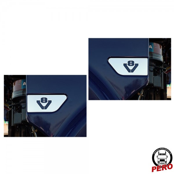 Edelstahlapplikation für Kotflügel-Sicke mit V8-Logo passend für Scania R