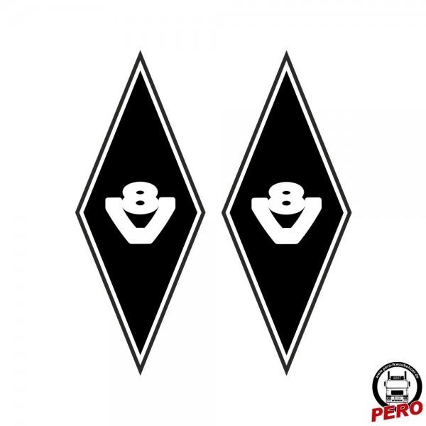 Aufkleber-Set Rauten mit V8 Logo 35x14cm rechts/links