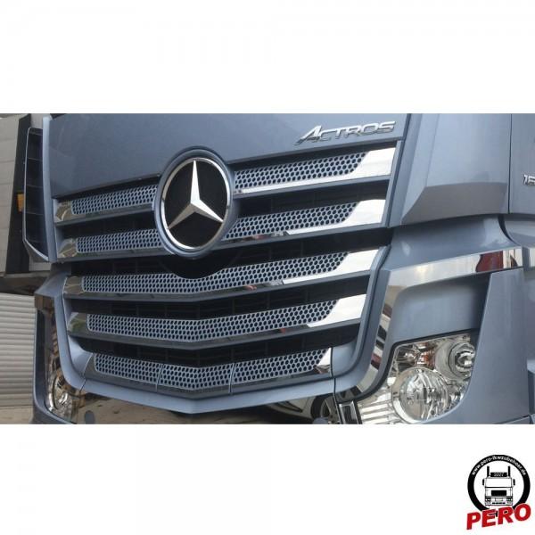 Kühlergrill, Frontgrill Applikation aus Edelstahl passend für Mercedes Actros 4/5, breites FH